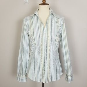 Loft Green Blue Strips Cotton Botton Down Shirt 10